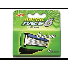 DORCO PACE6 4'S, сменные кассеты с шестью лезвиями